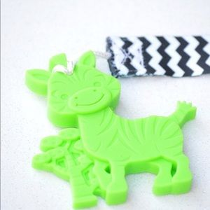 ✨Zebra Teether✨LIME GREEN BPA Free with Clip
